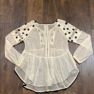 Free People Tops - Free People cream lace peasant blouse